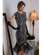 Вечернее серебристое платье в стиле 20-х X5526