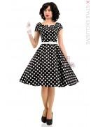 Винтажное платье в горошек и пояс X5340