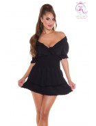 Короткое сексапильное черное платье KC5506