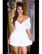 Сексапильное белое платье с глубоким вырезом KC507