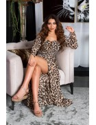 Длинное летнее леопардовое платье KC5511