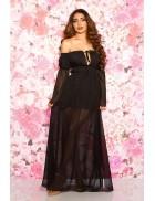 Длинное черное летнее платье KC5513