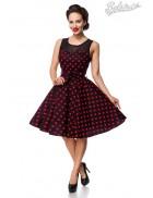 Платье в красный в горошек с сеточкой B5515