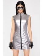 """Серебристое платье с эффектом """"металлик"""" X456"""