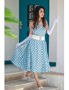 Голубое платье в горошек с поясом XC5467