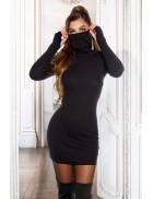 Вязаное черное платье в рубчик с маской KC5019