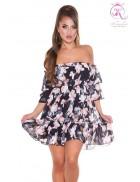 Черное платье Babydoll с цветочным принтом KC5508
