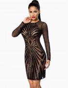 Черное платье с пайетками и сеточкой