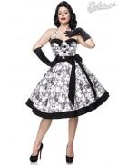 Ретро платье с контрастными деталями и поясом
