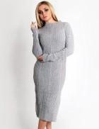 Зимнее серое платье комбинированной вязки XC5290
