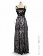 Длинное платье с портупеей и жемчугом