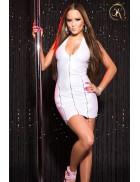 Блестящее белое платье под кожу KC166