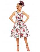 Платье Pin-up с цветочным узором и поясом