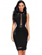 Бандажное черное платье со шнуровками и поясом