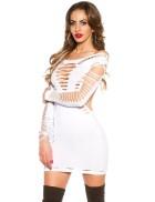 Белое платье с прорезями KC141