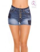Короткие джинсовые шорты с высокой талией KC10907