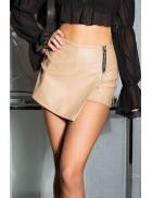 Кожаные юбка-шорты с запахом KC7004