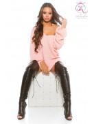 Розовый свитер оверсайз KC224