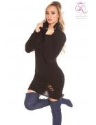 Рваный черный свитер-платье KouCla