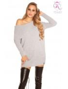 Серый свитер-туника на одно плечо KouCla