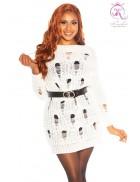 Вязаное белое платье-свитер с прорезями KC5372