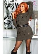 Длинный свитер-платье цвета хаки KouCla