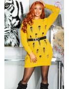 Длинный свитер-платье горчичного цвета KC5379