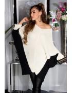 Двухцветный свитер-платье на одно плечо KouCla