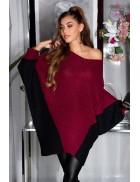 """Бордовое платье-свитер """"летучая мышь"""" KC1261"""
