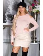Вязаный женский джемпер Cold-Shoulder Pink