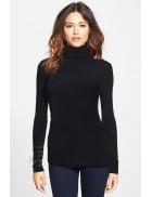 Черный женский свитер под горло XC1032