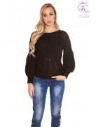 Черный фактурный свитер с рукавом-фонариком KC1277