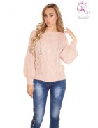 Фактурный свитер с рукавом-фонариком (античный розовый)