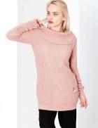 Длинный женский свитер с воротом-хомутом