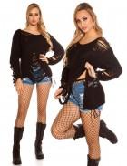 Рваный черный свитер Koucla