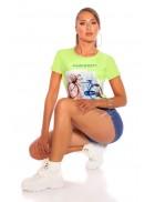 Салатовая футболка с рисунком XC2113