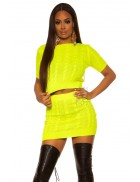 Вязаный джемпер и юбка (неоновый желтый)