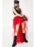 Красная асимметричная юбка-шлейф X7210