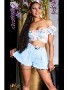 Джинсовые юбка-шорты с бахромой MF920