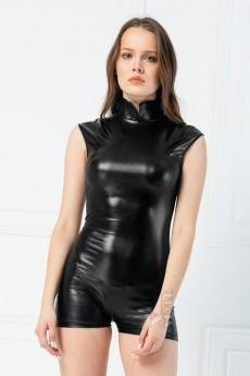 Черный комбинезон из стрейч-кожи X6248