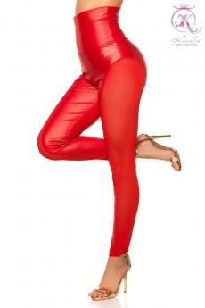 Красные леггинсы с откровенными вставками KouCla