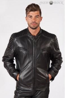 Черная мужская куртка из натуральной кожи New Rock