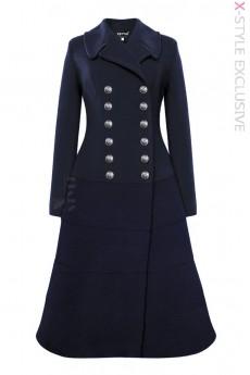 Зимнее шерстяное пальто темно-синего цвета X5077