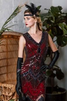 Платье с пайетками и бахромой в стиле 20-х XC299