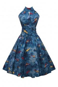Винтажное платье с морским принтом X5491