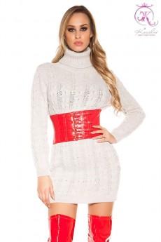 Бежевый свитер-платье с высоким горлом KC5476