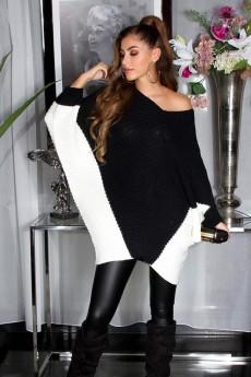 Черное платье-свитер на одно плечо KC1267