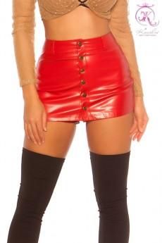 Красная кожаная юбка-шорты KC7002