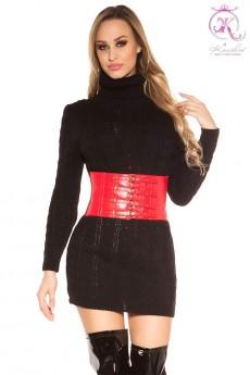 Черный свитер-платье с высоким горлом KC5434