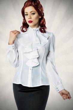 Белая блуза с жабо